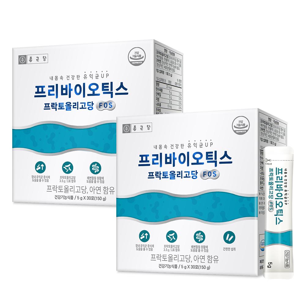 종근당 프리바이오틱스 프락토올리고당 FOS 유산균, 150g, 2개