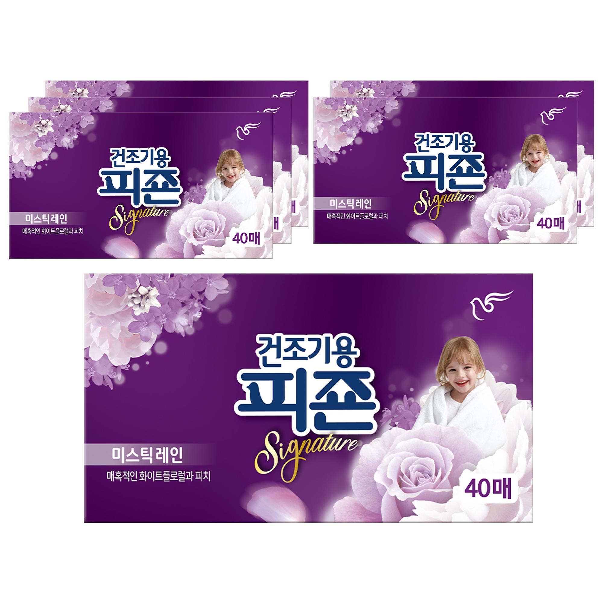 피죤 리치퍼퓸 시그니처 건조기용 시트형 섬유유연제 미스틱 레인 본품 40p, 40매입, 6개