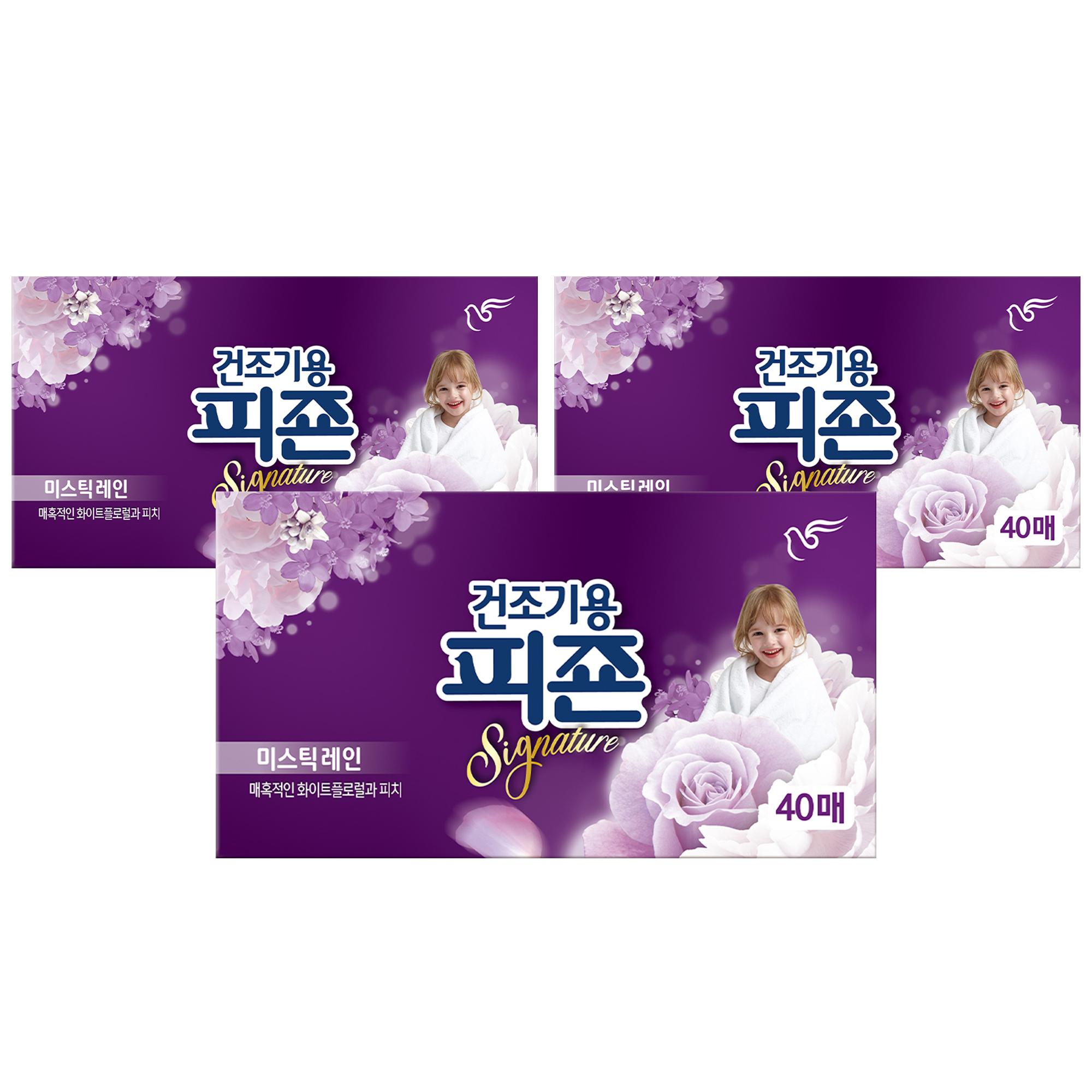 피죤 리치퍼퓸 시그니처 건조기용 시트형 섬유유연제 미스틱 레인 본품 40p, 40매입, 3개