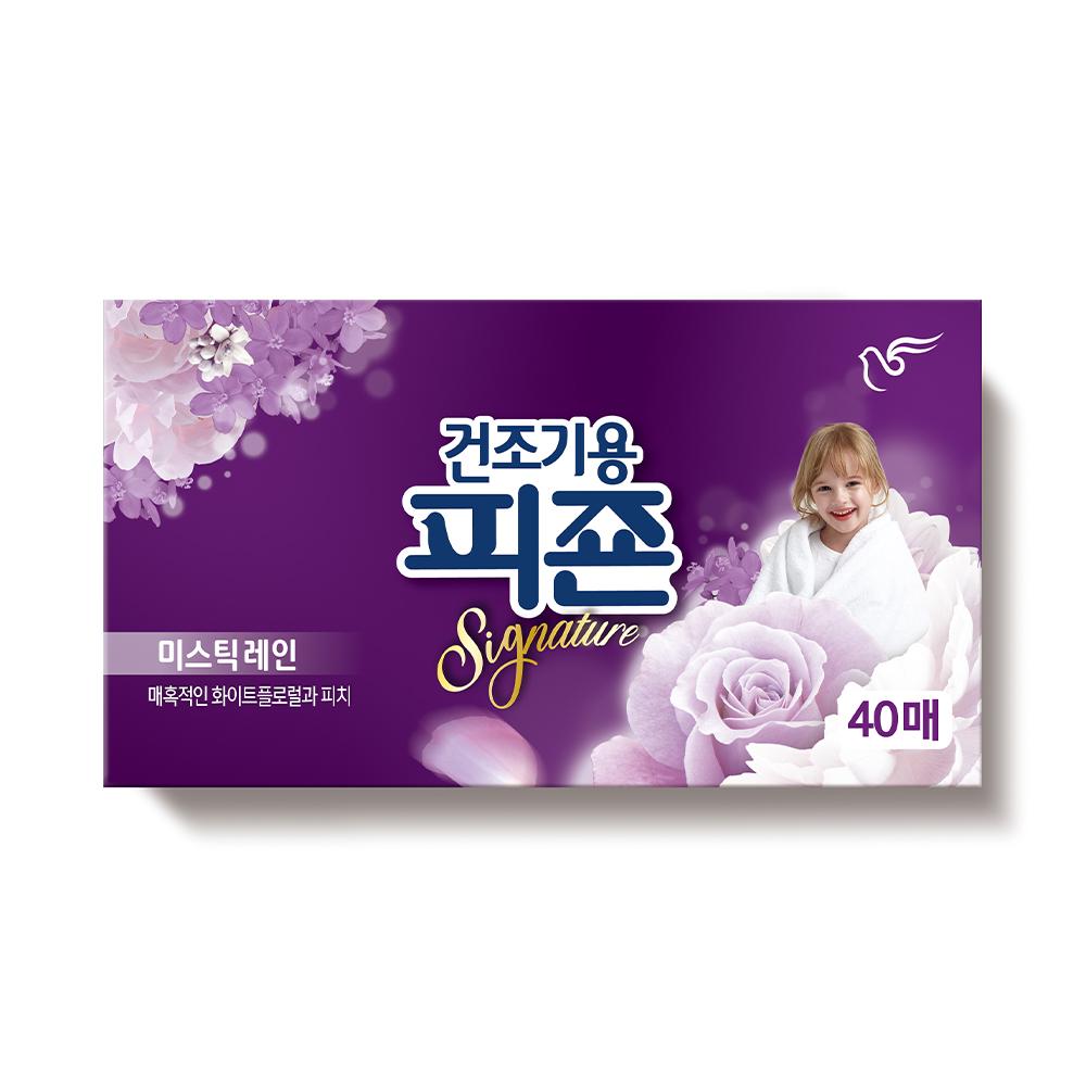 피죤 리치퍼퓸 건조기용 시트형 섬유유연제 본품 미스틱레인 40p, 40매입, 1개