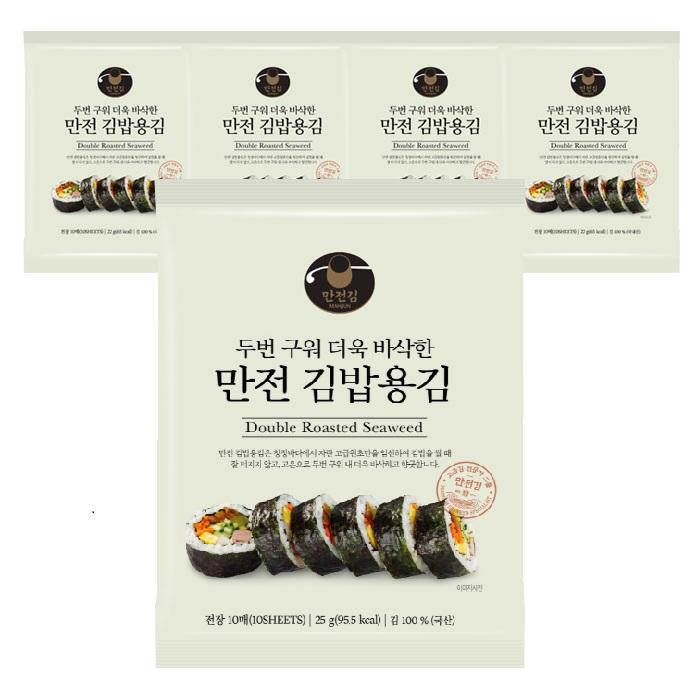 만전김 두번구워 더욱 바삭한 만전 김밥용김 10매, 25g, 5개