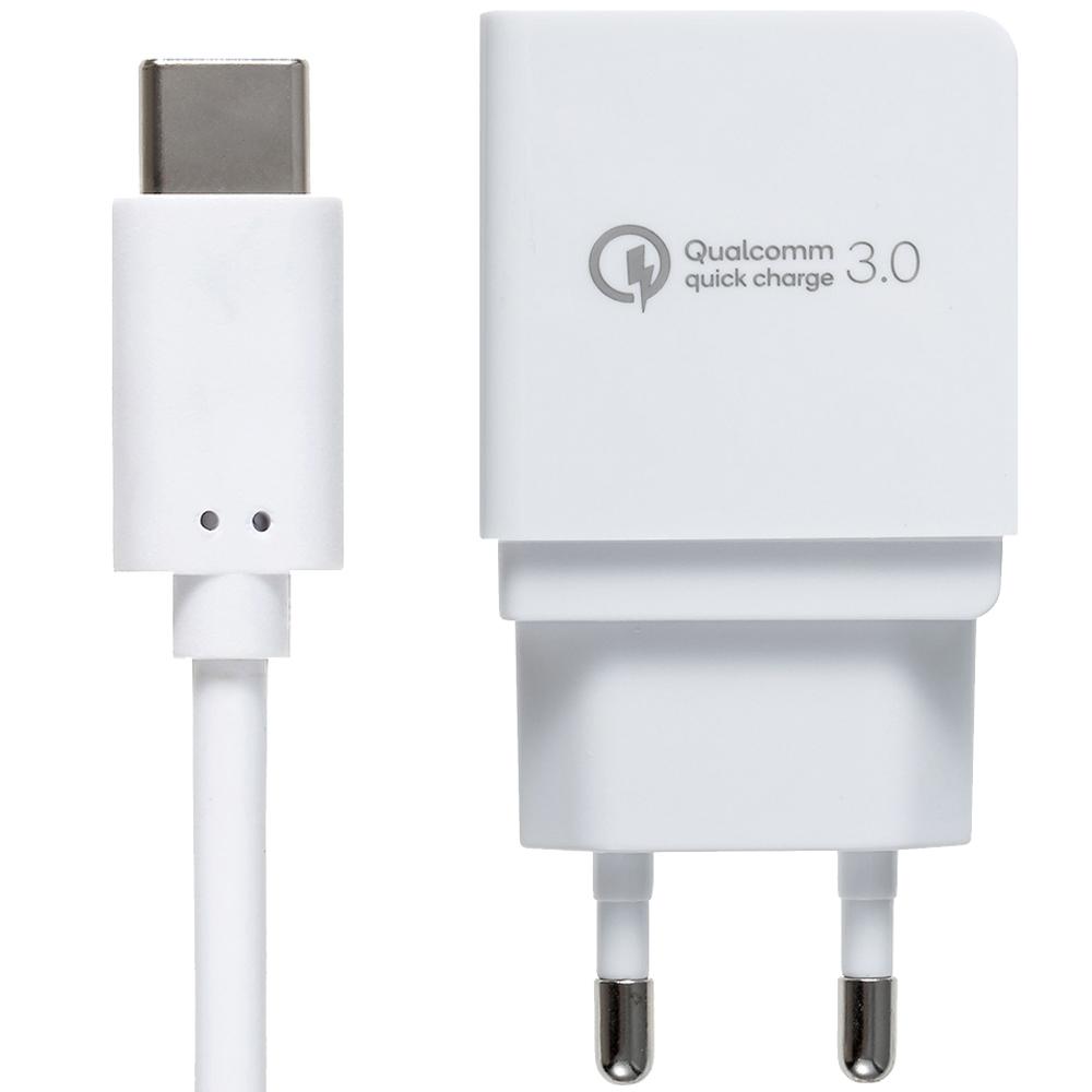 쿠팡 브랜드 - 퀄컴 공식인증 QC3.0 고속충전기 + C타입케이블 1.2m 세트, 화이트