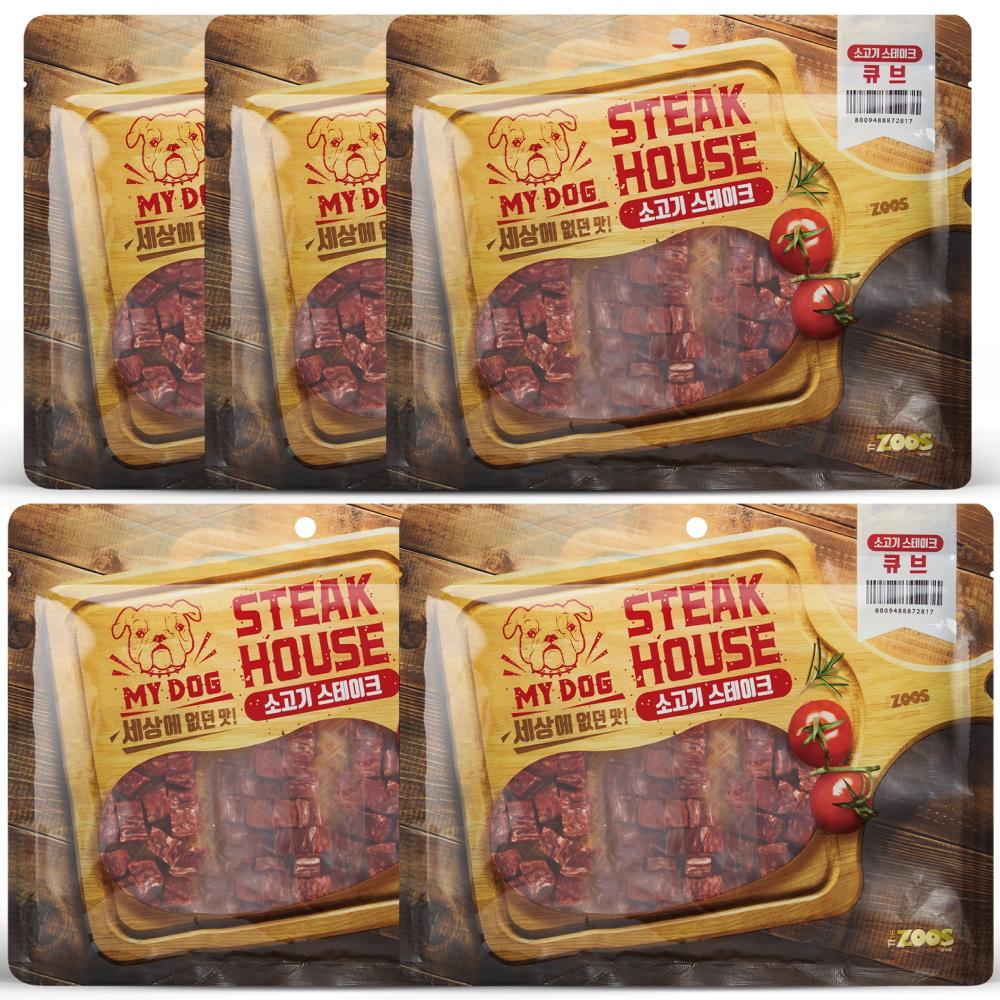 마이독스테이크하우스 강아지 간식 큐브, 소고기, 5개