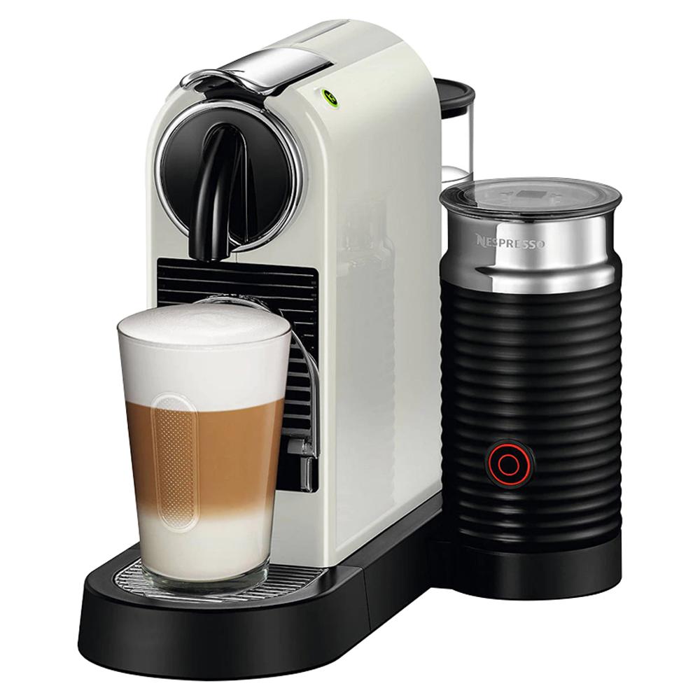 [커피머신] 네스프레소 시티즈앤밀크 에스프레소 캡슐커피머신 D123 + 에어로치노, D123(화이트), 에어로치노3 3594(블랙) - 랭킹61위 (291940원)