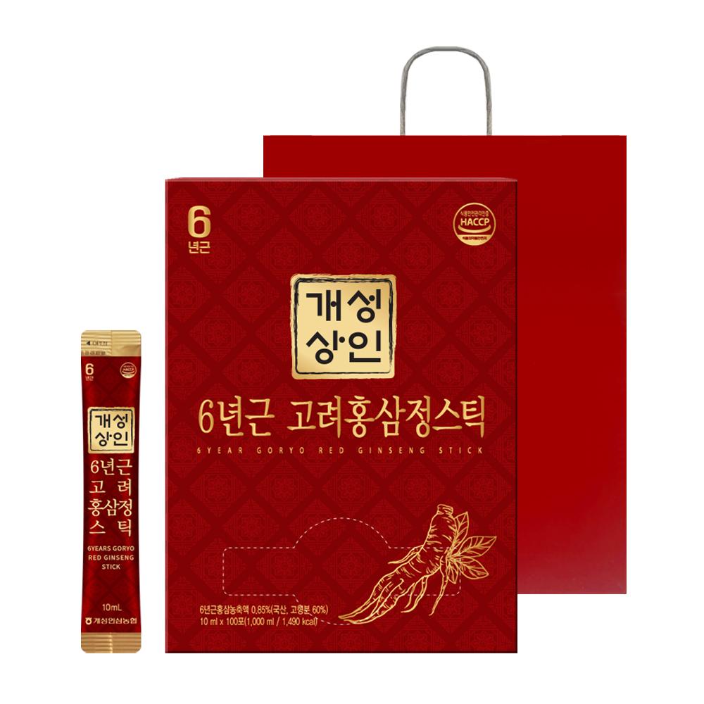 개성상인 6년근 고려홍삼정스틱 100개입 + 쇼핑백, 1000ml, 1세트