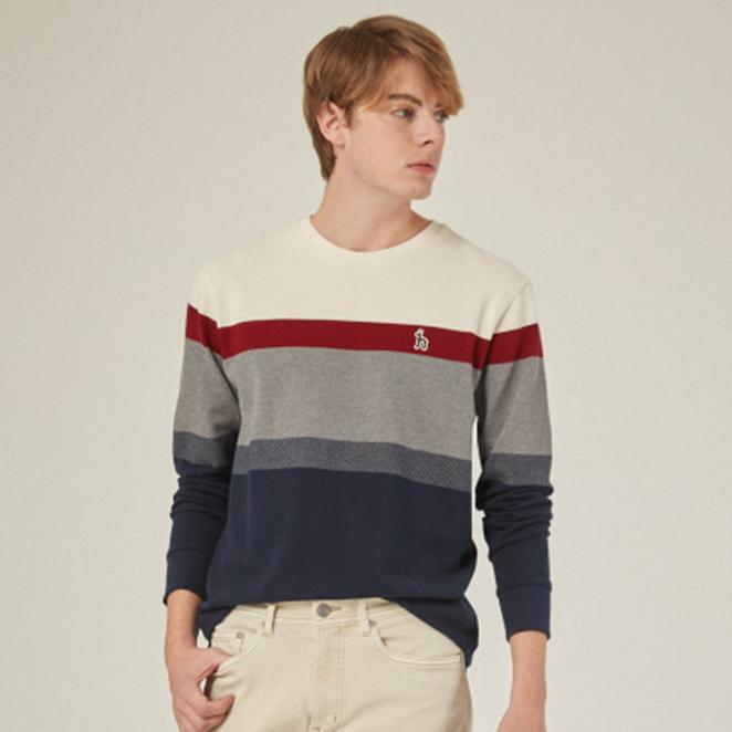 헤지스 남성용 컬러 블록 면 긴팔 티셔츠