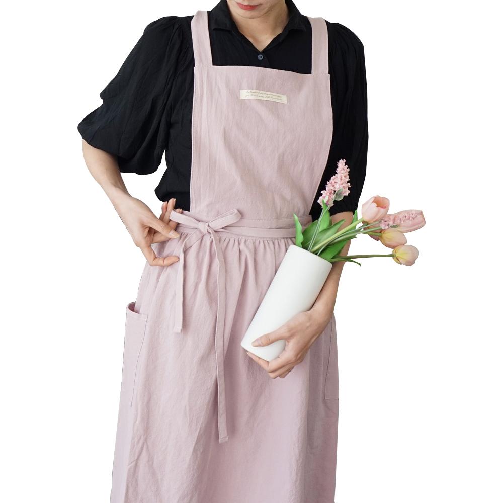 잇츠온 코튼 파스텔 원피스 앞치마, 핑크, 1개