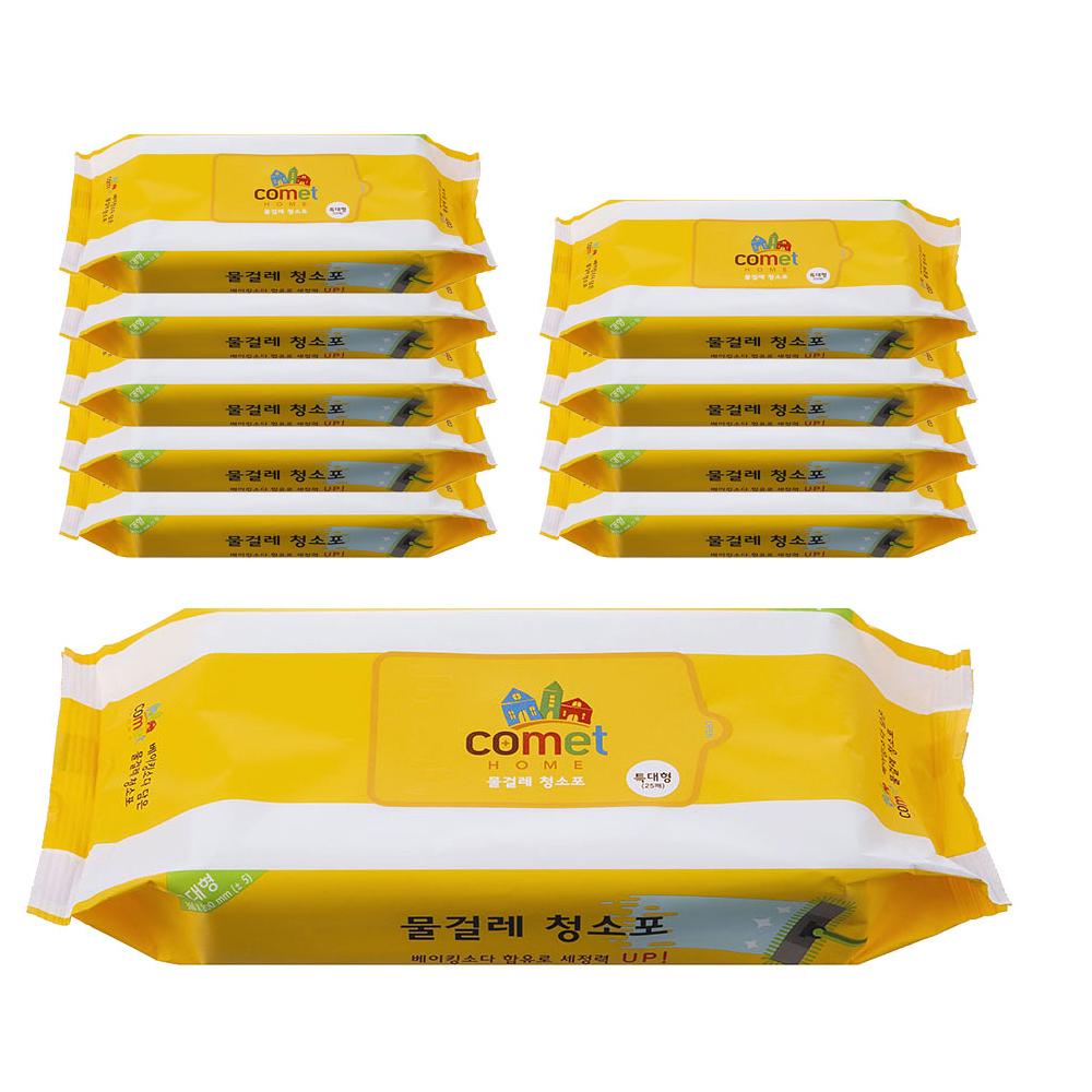 코멧 홈 물티슈 물걸레 청소포 특대형 리필 25매, 10팩