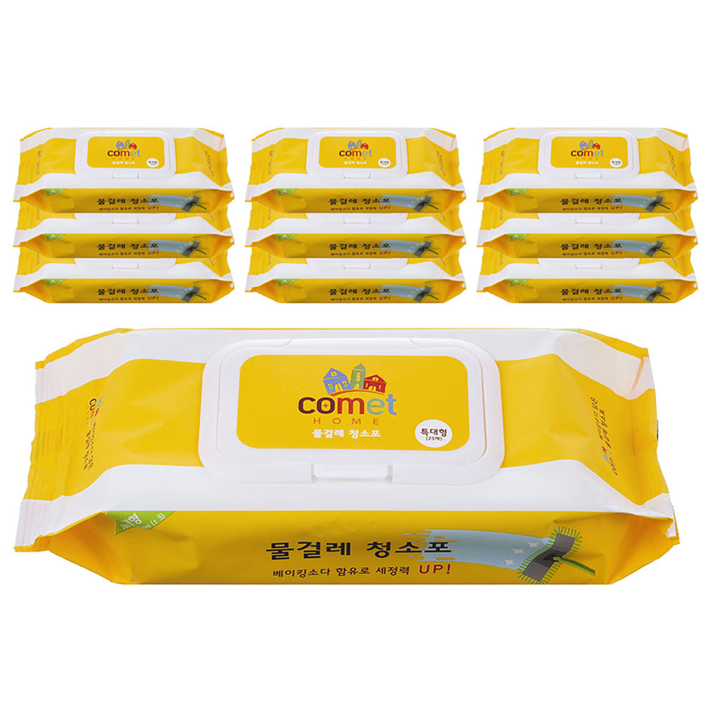 쿠팡 브랜드 - 코멧 홈 물티슈 물걸레 청소포 특대형 캡형 25매, 10팩