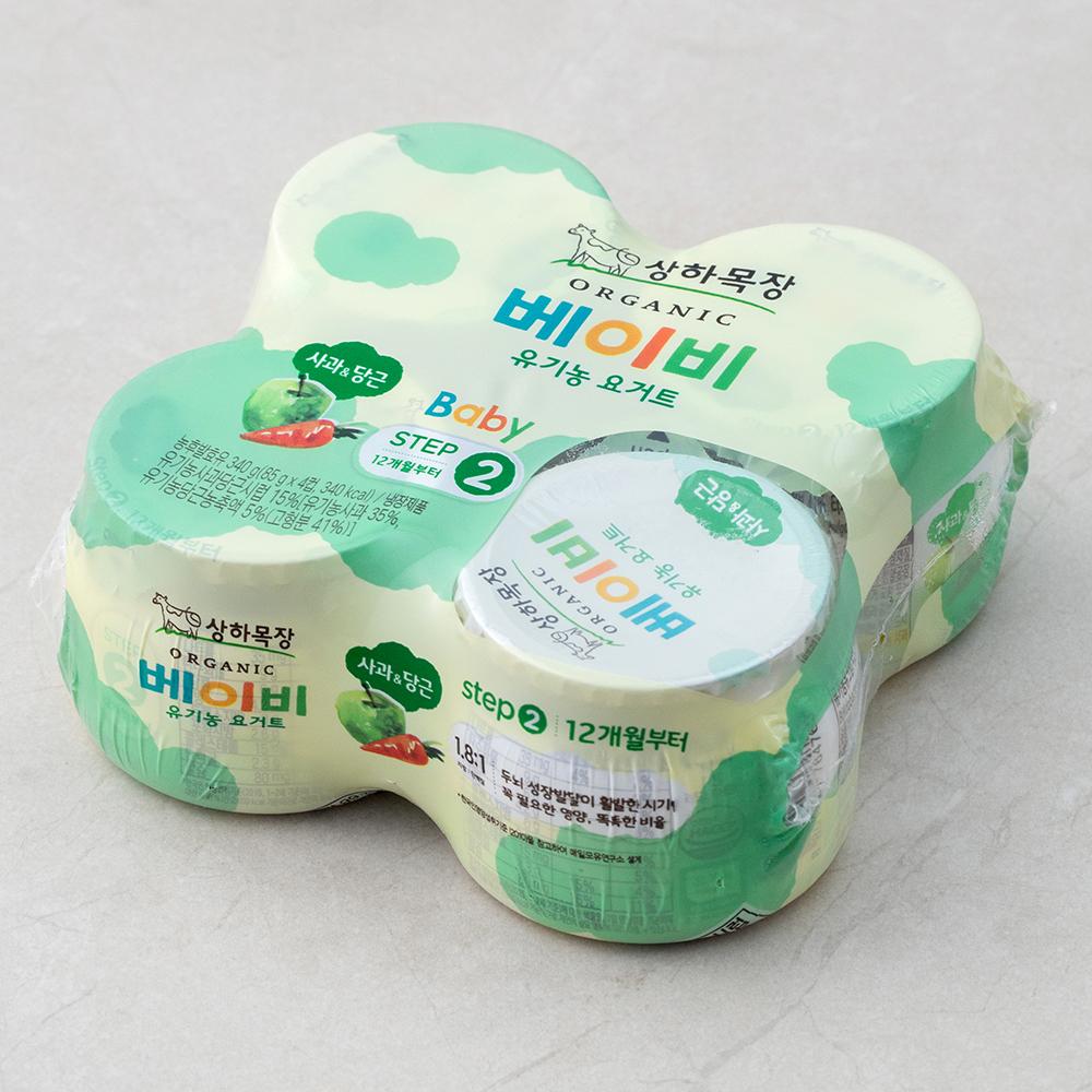 [출산/유아동] 상하목장 베이비 유기농 요거트 사과당근, 4개입 - 랭킹65위 (2550원)