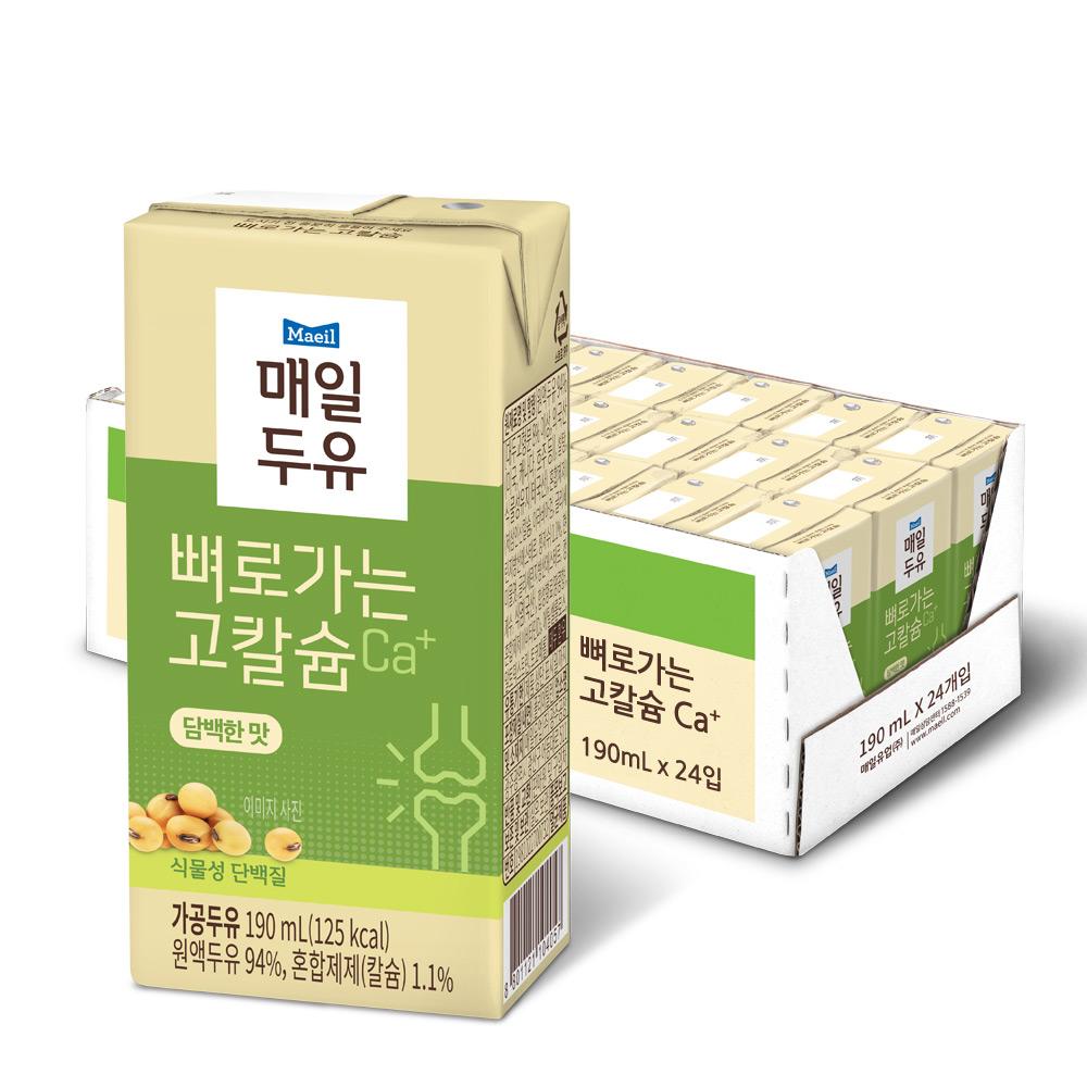 [뼈로가는 칼슘두유] 매일유업 뼈로가는 칼슘두유 담백한맛, 190ml, 24개 - 랭킹7위 (7910원)