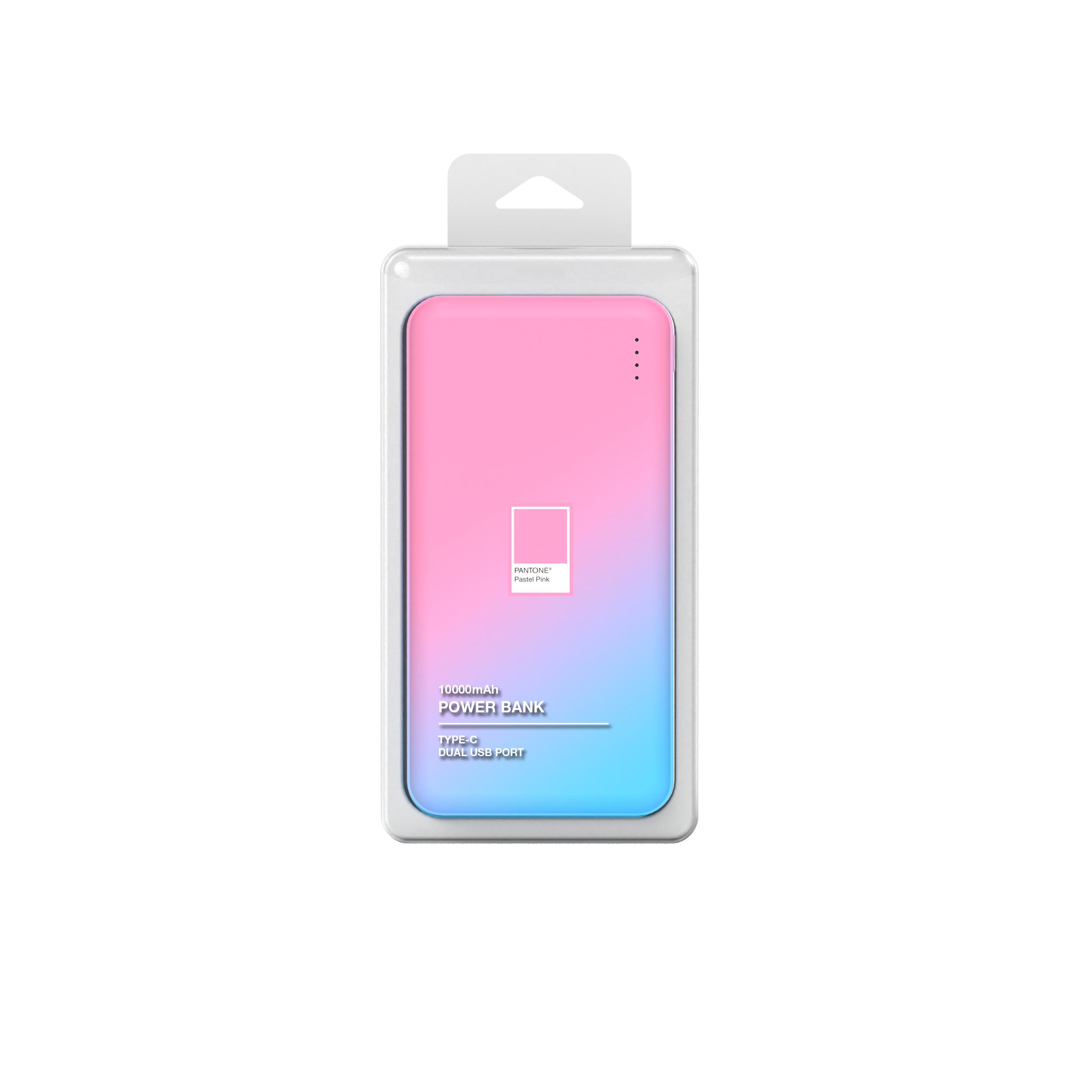 PANTONE 고속충전 보조배터리 10000mAh 멀티단자, PGB-01, 핑크