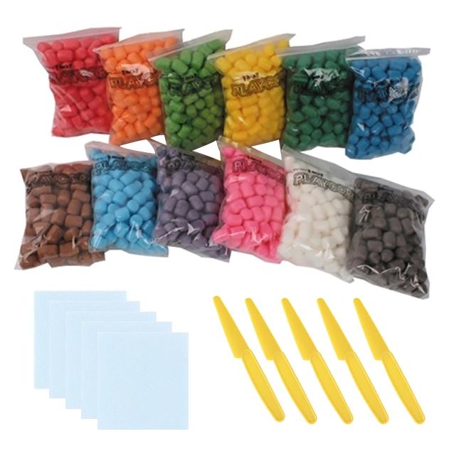 오션 플레이콘 12색 + 칼 5p + 물 묻히는 패드 5p, 혼합 색상, 1세트