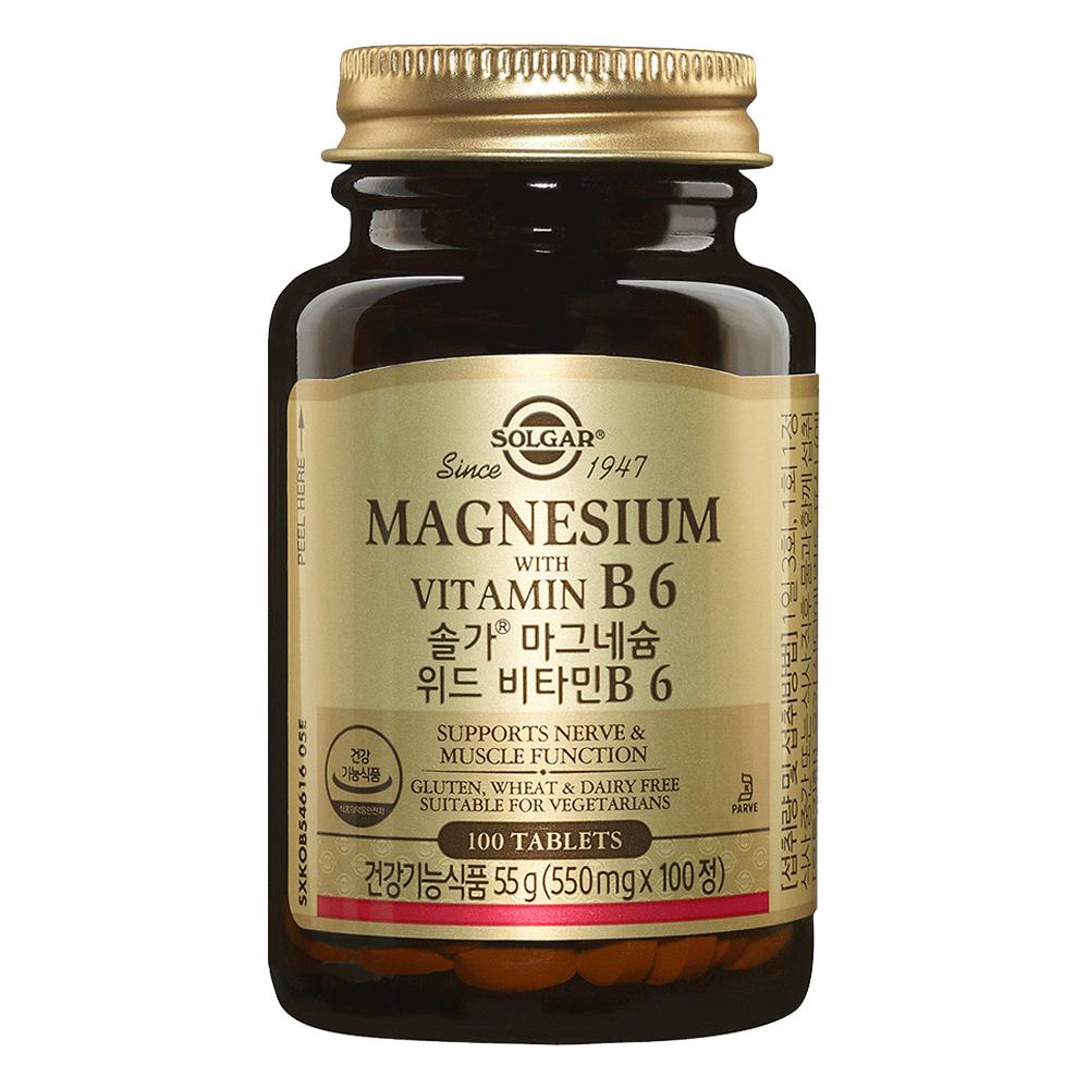 Solgar 마그네슘 with 비타민 B6 타블렛, 100정, 1개