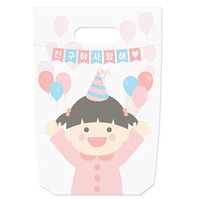 도나앤데코 넬리 소녀 손잡이봉투 18 x 25 cm, 혼합색상, 30개