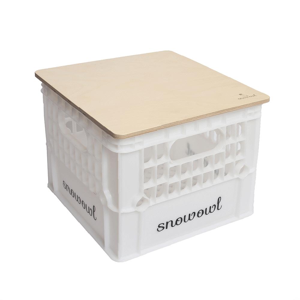 스노우아울 밀크박스 + 우드상판 세트, 화이트 + 우드, 1개