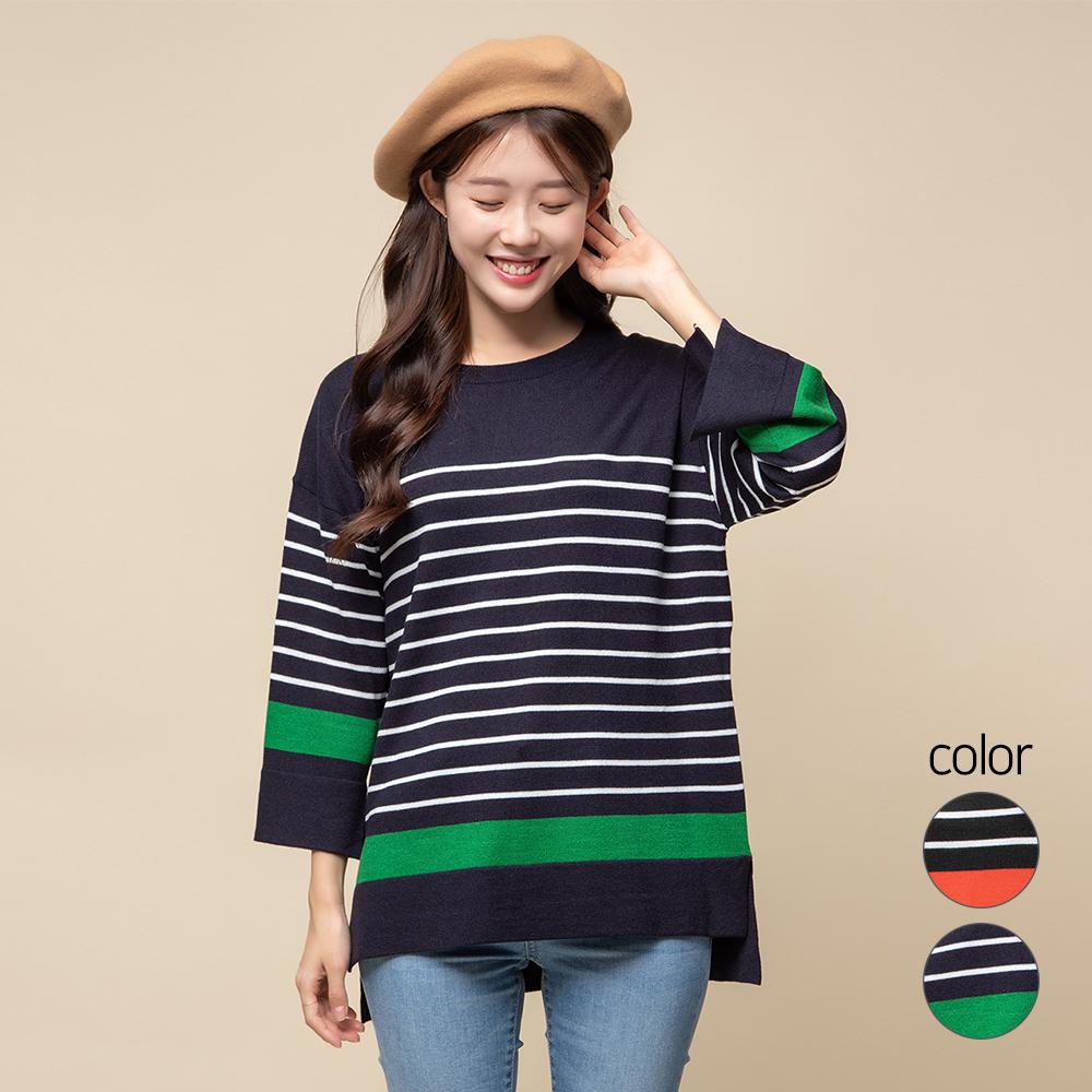 캐럿 여성용 스트라이프 스웨터