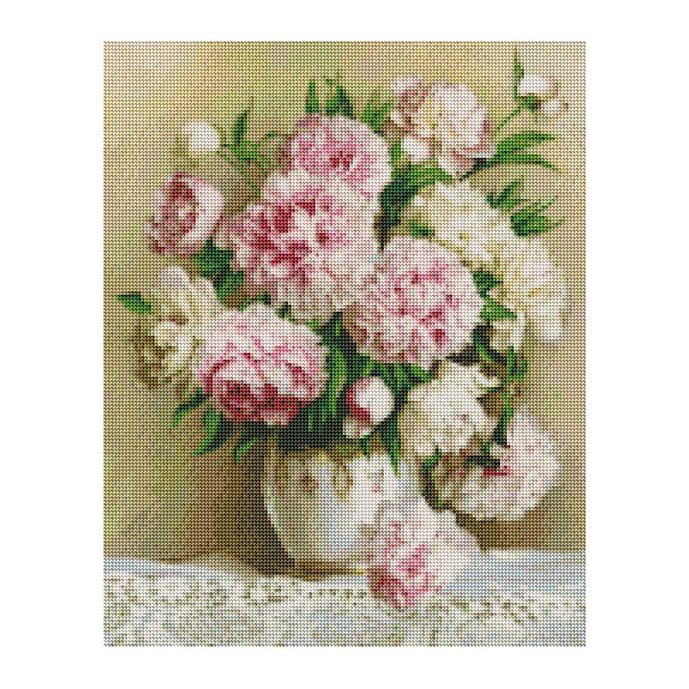 플레이어바웃 식탁위 꽃병 DIY 보석십자수 세트 40 x 50 cm, 혼합색상, 1세트
