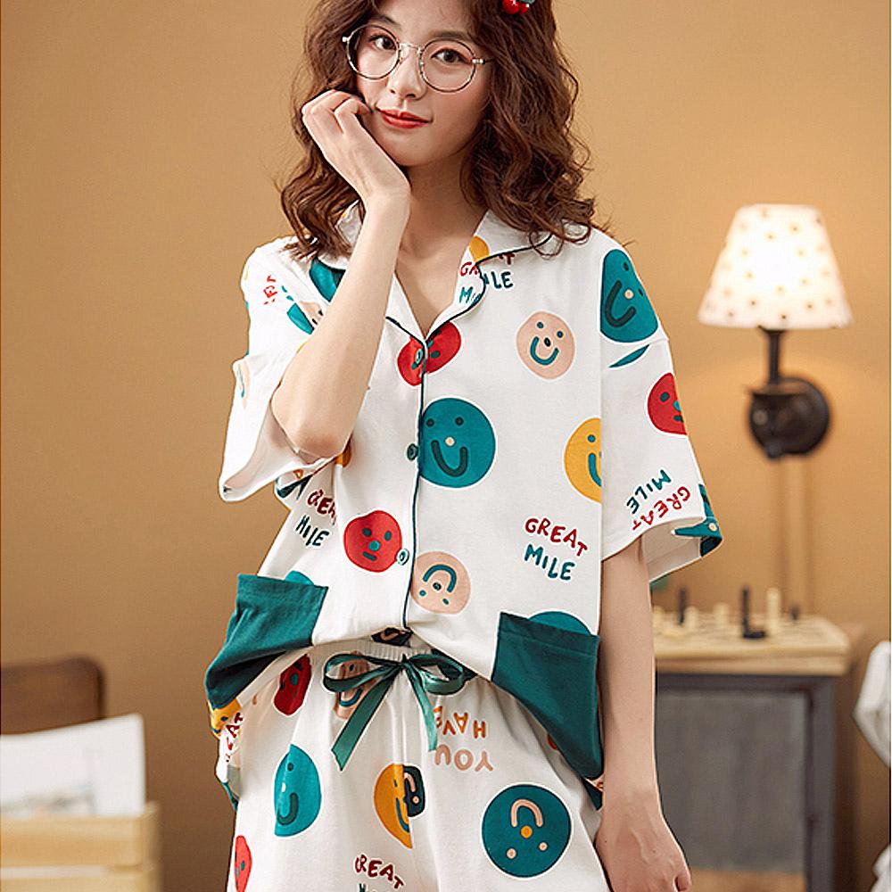 도씨 여성용 스마일퐁퐁 잠옷 반팔 카라상하세트