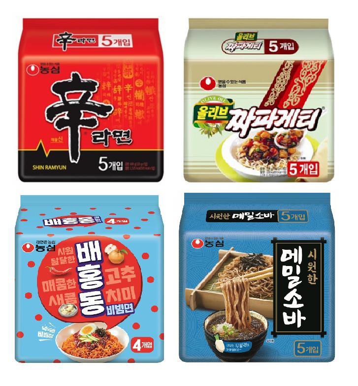 농심 신라면 + 짜파게티 + 배홍동 비빔면 + 메밀소바 기획세트, 1세트