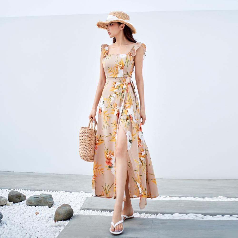 벤디스 여성용 비치 원피스 롱 드레스 비치웨어 르넷 H248, 베이지