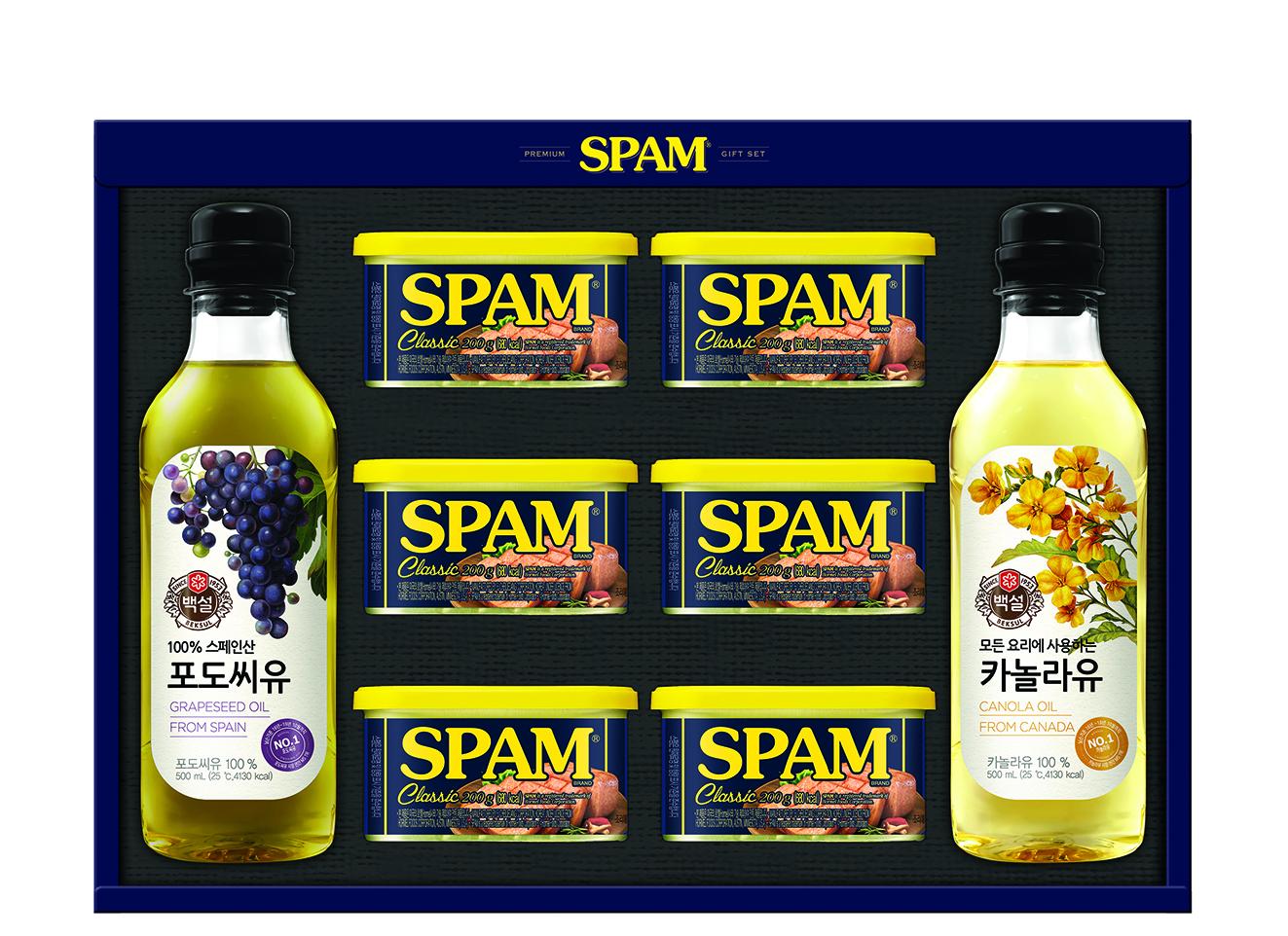 스팸 고급유4호 선물세트 + 쇼핑백, 1세트