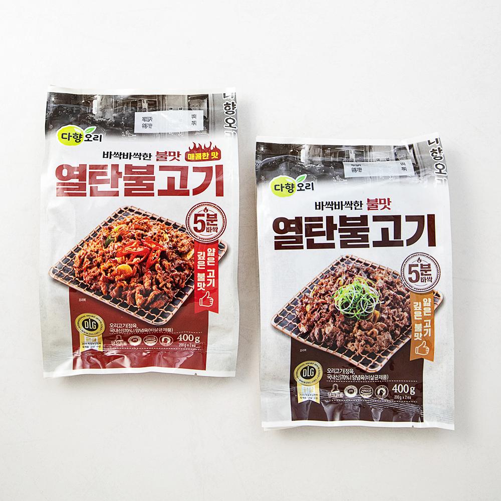 다향오리 열탄불고기 불고기맛 400g + 매콤한맛 400g, 1세트