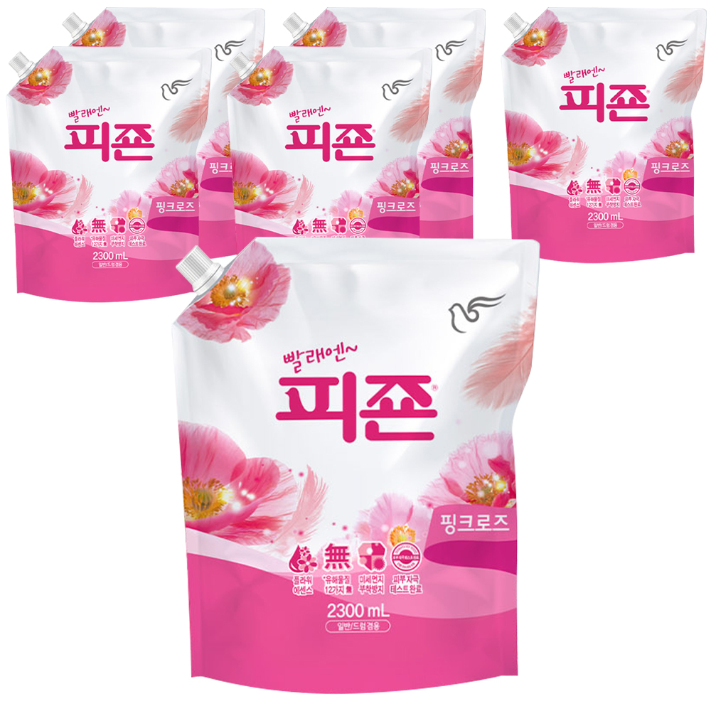 피죤 레귤러 섬유유연제 핑크로즈 리필, 2.3L, 6개