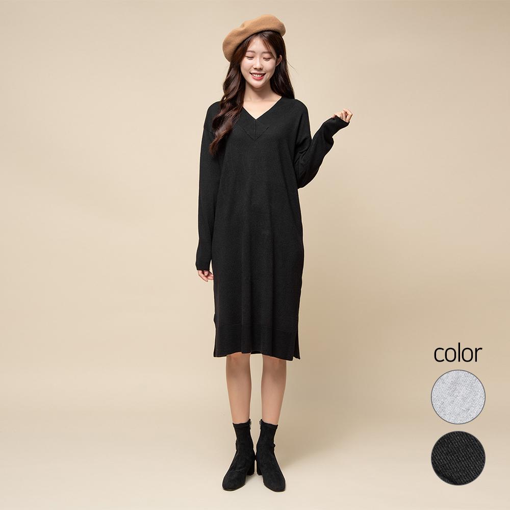 캐럿 여성용 브이넥 드레스 스웨터