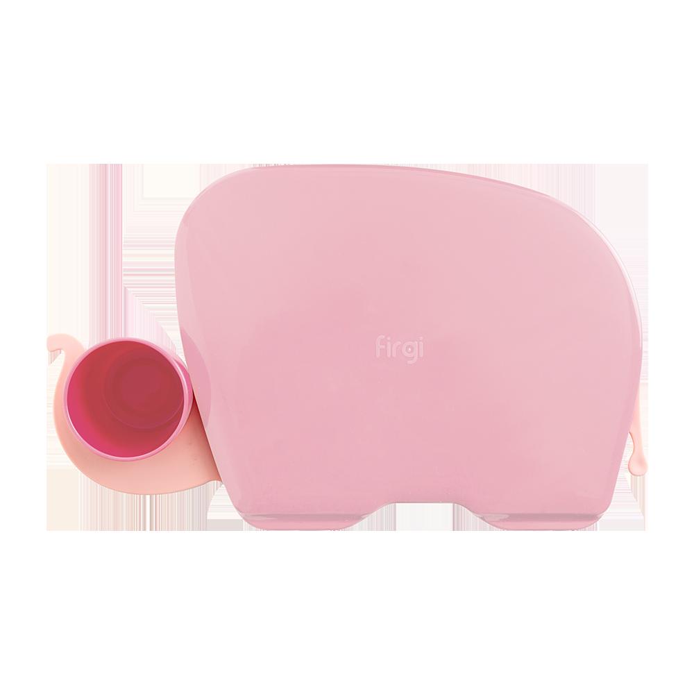 퍼기 유아 코끼리식판, 파스텔 핑크, 식판 트레이 + 뚜껑 + 컵
