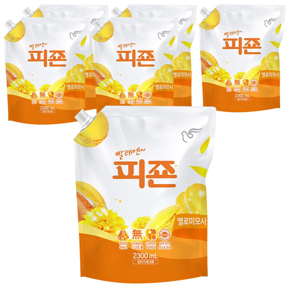 피죤 레귤러 섬유유연제 옐로미모사 리필, 2.3L, 6개