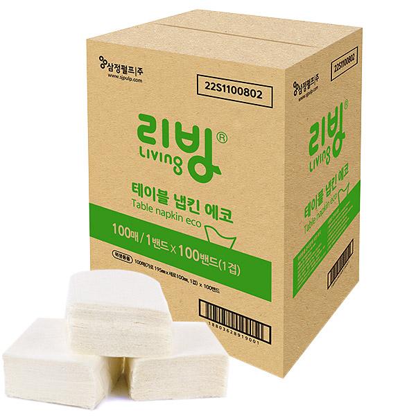 삼정펄프 리빙 테이블냅킨 에코 냅킨, 100매, 1박스