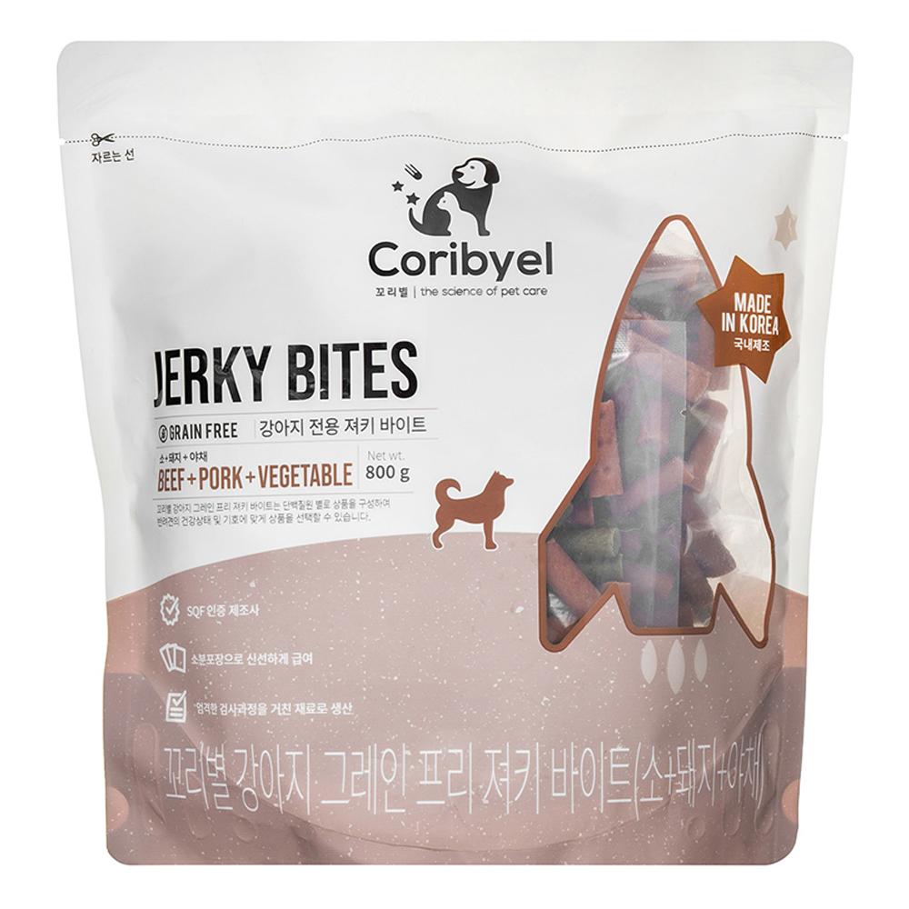 쿠팡 브랜드 - 꼬리별 강아지 져키 바이트 800g, 소+돼지+야채 혼합맛, 1개