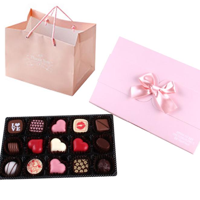 로맨틱러브 15구 수제초콜릿 선물세트 랜덤 발송, 초콜릿 15종 + 포장상자 + 쇼핑백, 1세트