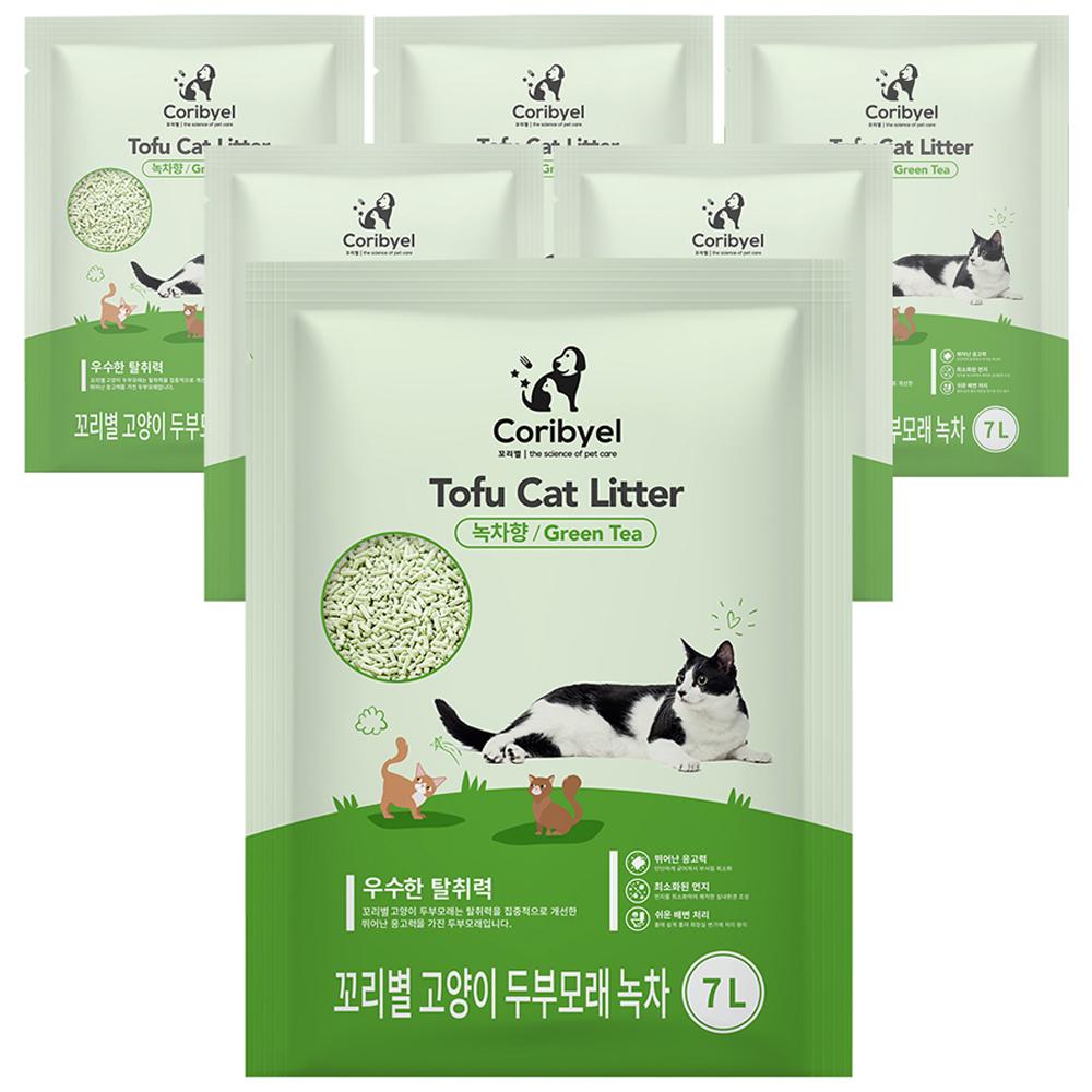 쿠팡 브랜드 - 꼬리별 프리미엄 고양이 두부모래 7L, 녹차향, 6개