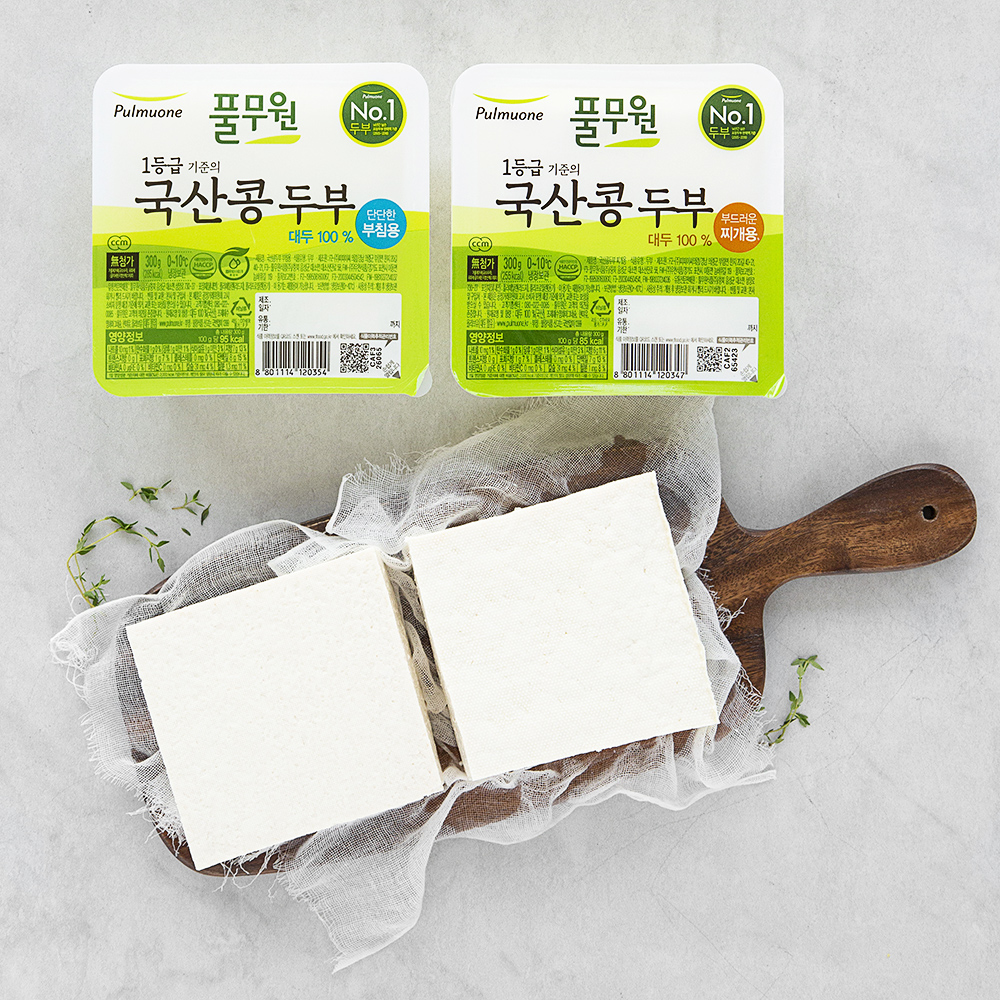 풀무원 국산콩 두부 부침용 300g + 찌개용 300g, 1세트