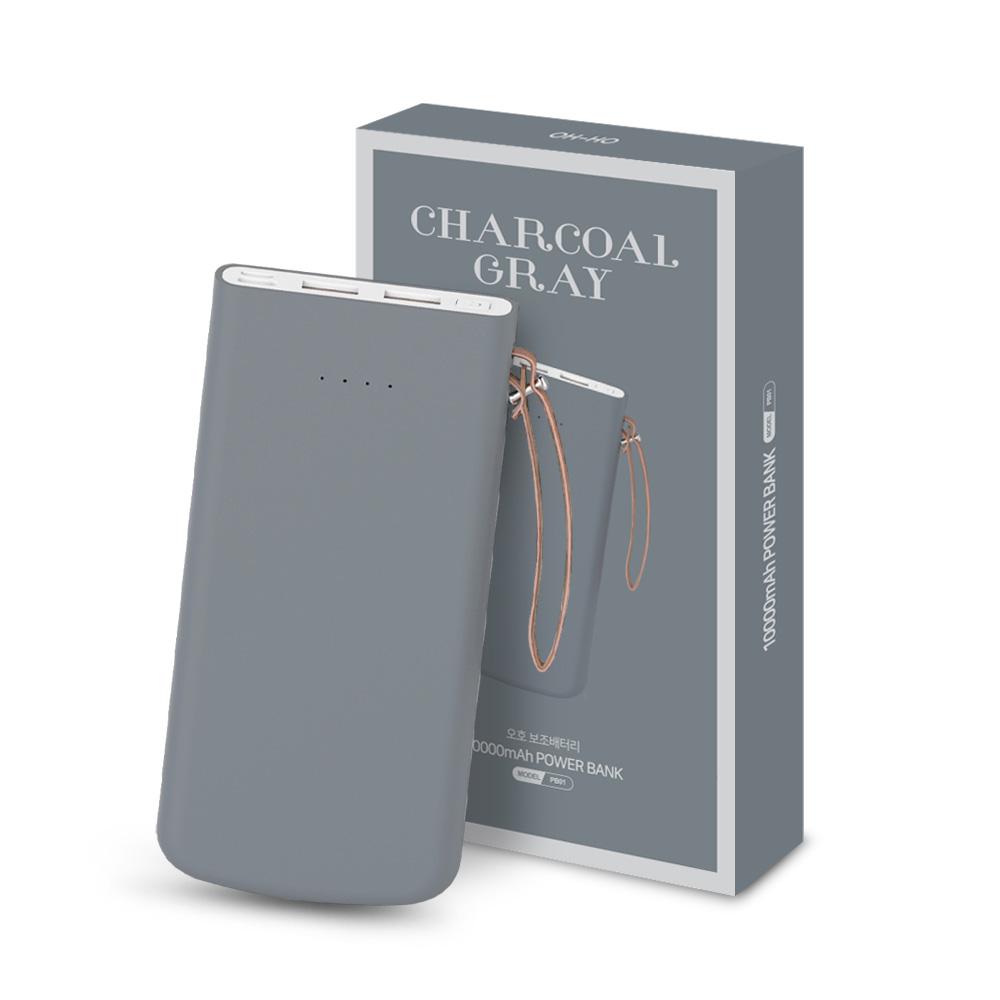 오호 3포트 USB C타입 고속충전 PD 보조배터리 10000mAh, PB01, 차콜 그레이