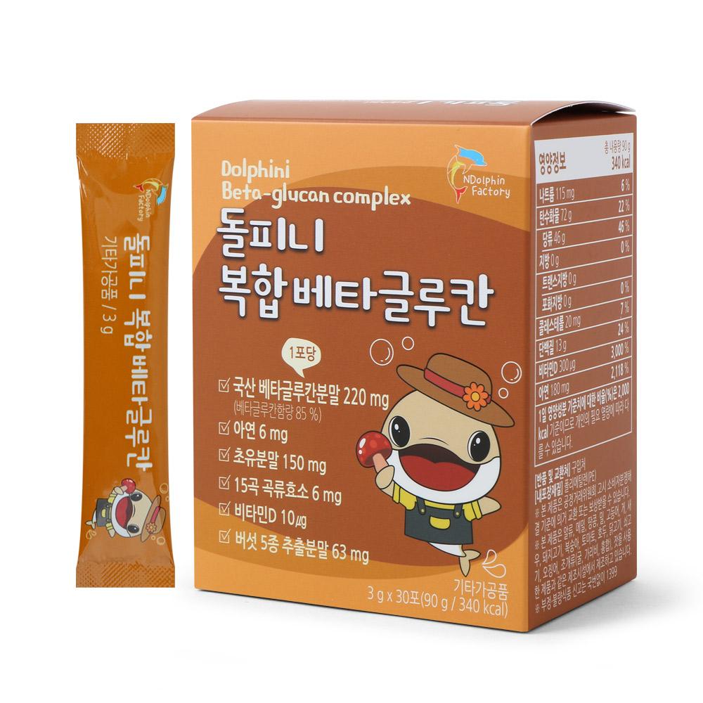 엔돌핀팩토리 돌피니 복합 베타글루칸 아연 초유분말 비타민D, 3g, 30개