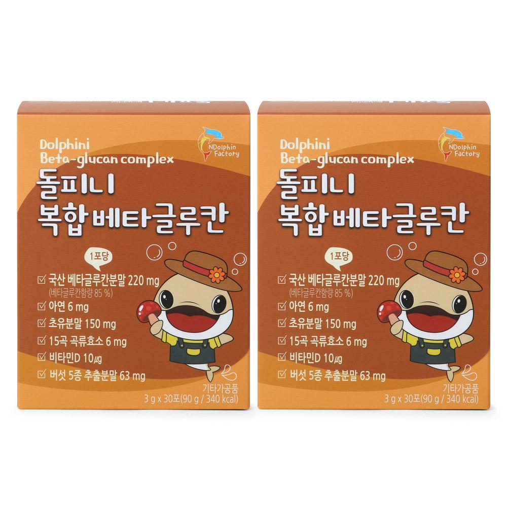엔돌핀팩토리 돌피니 복합 베타글루칸 아연 초유분말 비타민D, 3g, 60개
