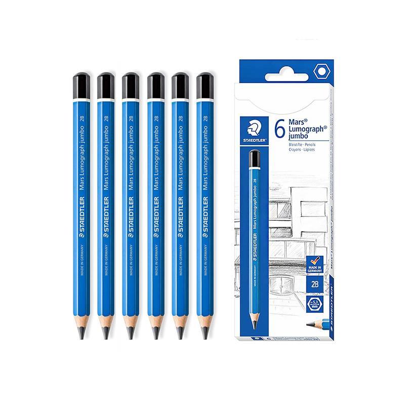 스테들러 마스 루모그라프 점보 연필 100J-2B, 혼합 색상, 6개입