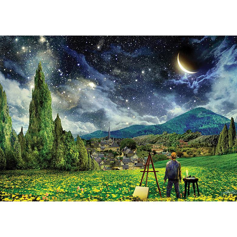 반 고흐가 바라보는 별이 빛나는 밤 그림퍼즐 PL818, 500피스, 혼합색상