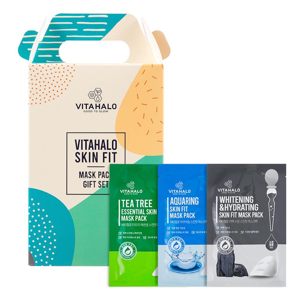 비타할로 스킨핏 마스크팩 선물세트 (티트리 10개입 + 미백수분 10개입 + 아쿠아링 10개입), 1세트