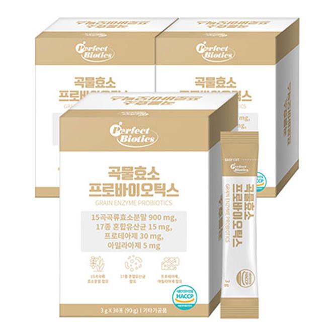 퍼펙트바이오틱스 곡물 효소 프로바이오틱스, 3g, 90개