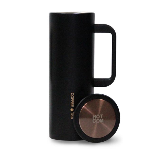 핫콤 진공 커피머그 텀블러, BLACK, 450ml