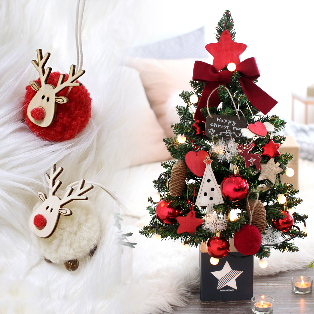 조아트 크리스마스 테이블트리 + 뽀숑루돌프 2p 세트, 쁠로르 레드