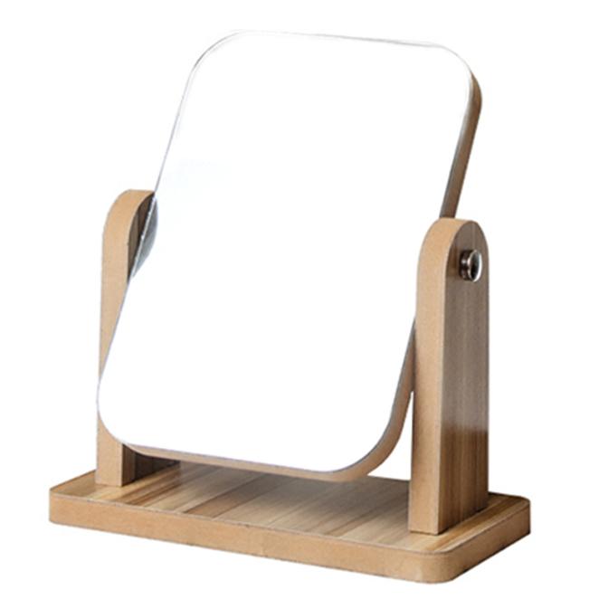 에이비엠코리아 우드 사각 탁상 거울 L, 브라운