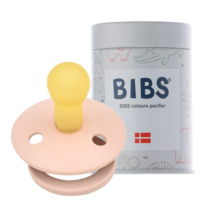 BIBS 데니쉬 공갈 젖꼭지 + 하드케이스, 1단계(0~6개월), 블러쉬핑크