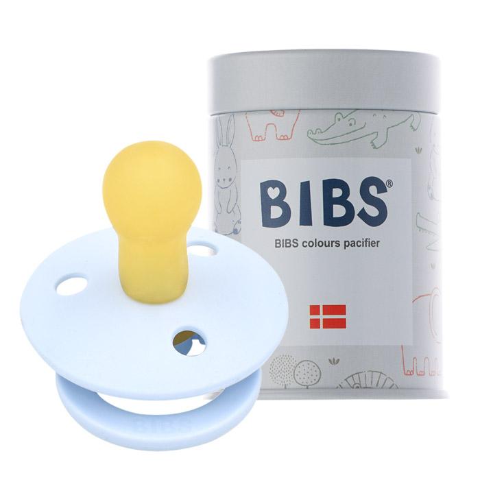BIBS 데니쉬 공갈 젖꼭지 + 하드케이스, 1단계(0~6개월), 베이비블루