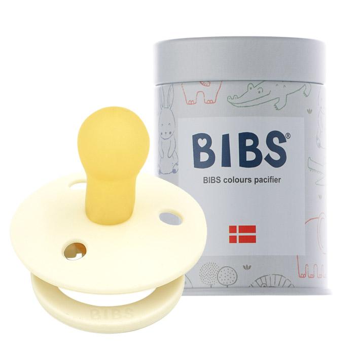 BIBS 데니쉬 공갈 젖꼭지 + 하드케이스, 1단계(0~6개월), 아이보리