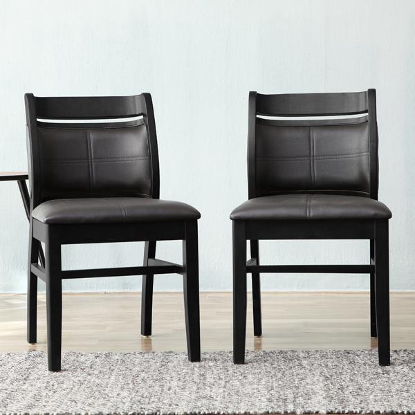 베스트리빙 쿠페 의자 2p, 웬지 + 블랙